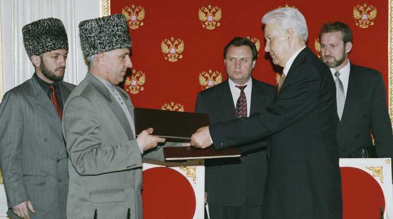 Аслан Масхадов и Борис Ельцин