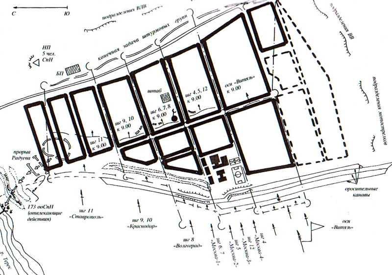 Схема поэтапного штурма села Первомайское