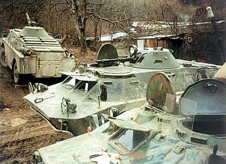 Боевые машины разведчиков в Чечне