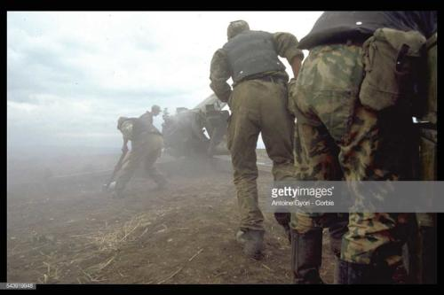 Russian Artillery Bombarding Dagestan against Muslim fundamentalists from Chechnya under Shamil Basayev who attempt, staged an abortive insurrection in Dagestan16