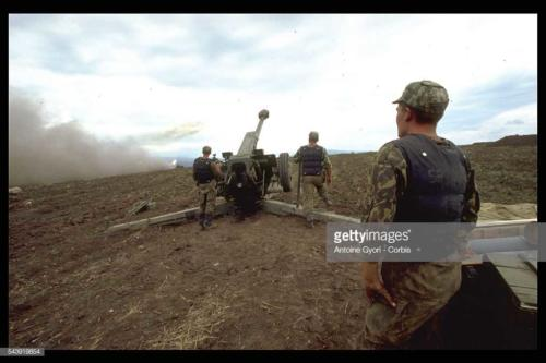 2 Russian Artillery Bombarding Dagestan against Muslim fundamentalists from Chechnya under Shamil Basayev who attempt, staged an abortive insurrection in Dagestan11