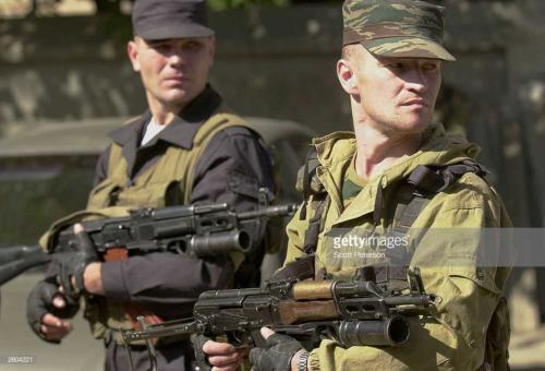 2  Russian soldiers patrol in Grozny, Chechnya October 6, 2003, the day after elections confirmed Moscow's choice of Akhmad Kadyrov as president of the Chechen republic