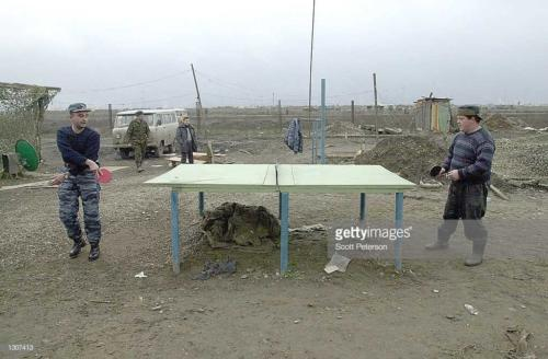 2  Russian troops play ping-pong November 22, 2000 at Russia''s main military base at Khankala, 10 miles east of the Chechen capital, Grozny